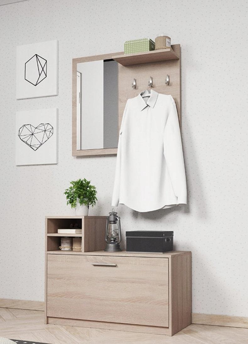 Biała Garderoba Przedpokój 80cm Wieszak Lustro Luki Ps